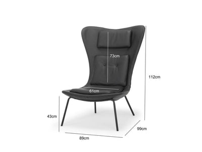 Hermes - large modern chair in premium black leather - by Calvers &