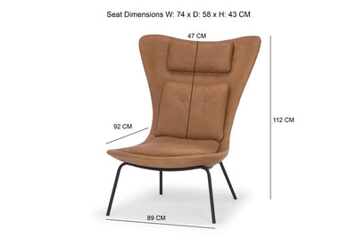Hermes - large modern chair in premium tan leather - by Calvers &