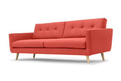 Olav modern three seater sofa in orange by Calvers & Suvdal
