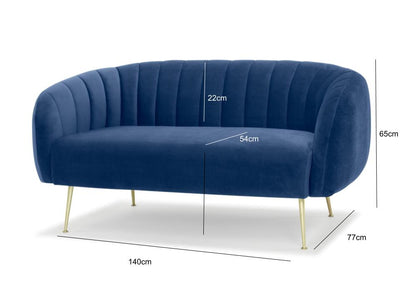 Glamorös two seater sofa - electric navy