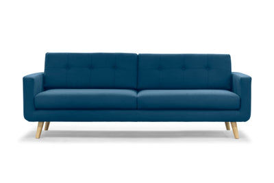 Olav modern three seater sofa in Nordic blue wool by Calvers & Suvdal