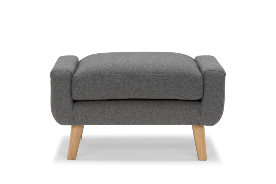 Olav large footstool in grey by Calvers & Suvdal