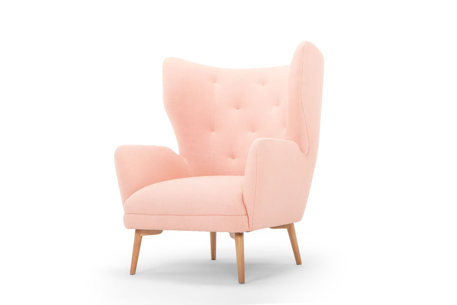 Regal wingback armchair - rosa/blush pink linen
