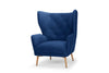 Regal wingback armchair in electric navy velvet - by Calvers & Suvdal