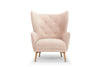 Regal wingback armchair in blush pink velvet - by Calvers & Suvdal