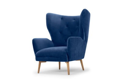 Regal wingback armchair - electric navy velvet