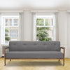 Sixties style modern three seater sofa bed in grey