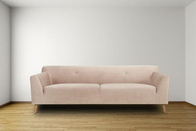 blush pink three seater sofa - scandi style calvers suvdal