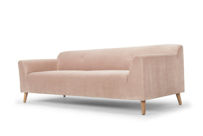 blush pink three seater sofa - scandi style