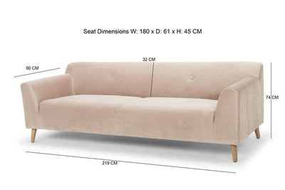 blush pink velvet three seater sofa - scandi style calvers suvdal