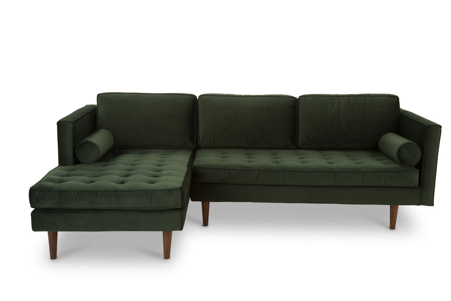 Staunton - three seater sofa with chaise -  dark green velvet
