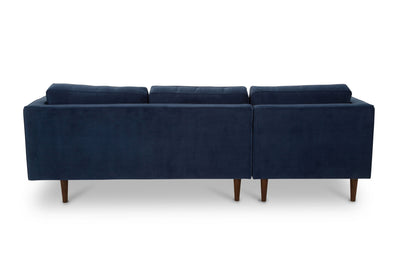 Staunton - three seater sofa with chaise -  navy velvet
