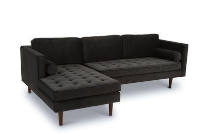Staunton - three seater sofa with chaise -  anthrazite grey velvet