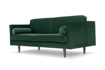 Staunton - three seater sofa in green velvet with walnut legs
