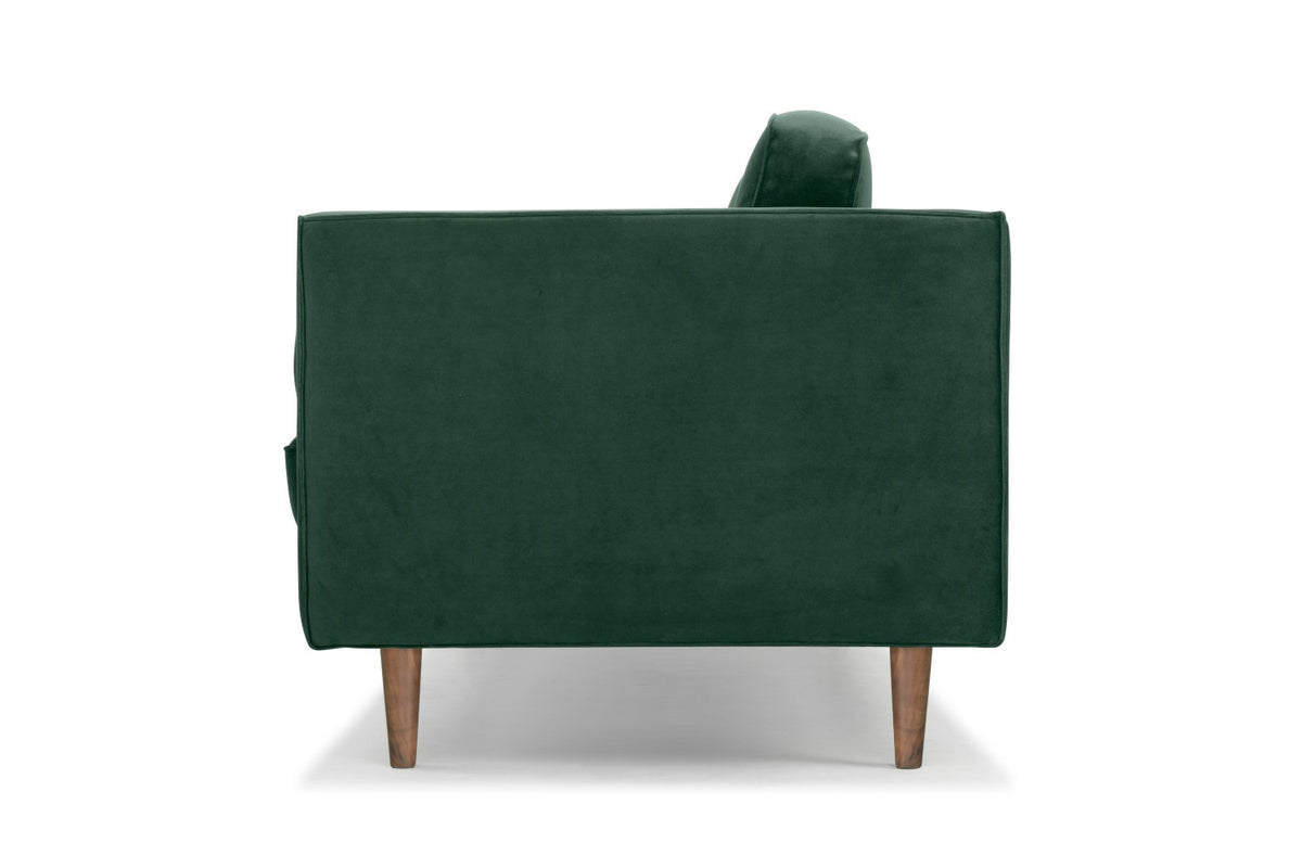 Calvers & Suvdal - three seater sofa in green velvet with walnut legs