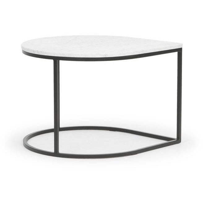 Teardrop table in Marble with black metal frame by Calvers & Suvdal