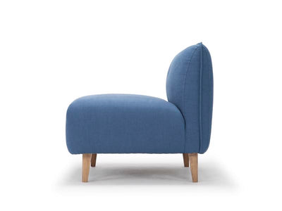 Modular one seat sofa section in petrol blue linen