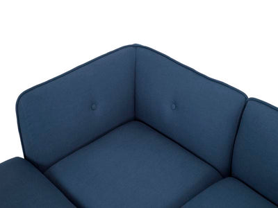 Large modular corner sofa in petrol blue linen by Calvers & Suvdal