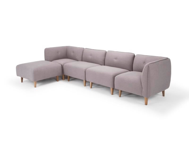 Large modular sofa in steel grey linen by Calvers & Suvdal