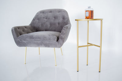 Viceroy armchair - light grey velvet with gold legs
