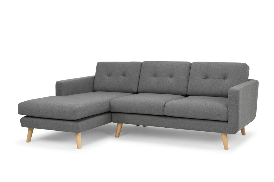 Olav three seater sofa with chaise - charcoal grey - left hand facing
