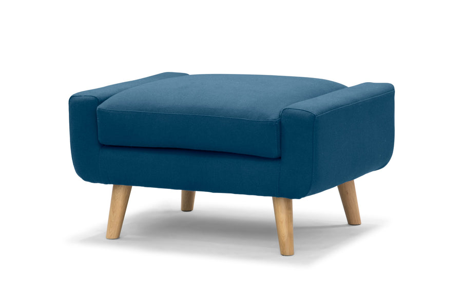 Olav footstool - Nordic blue wool