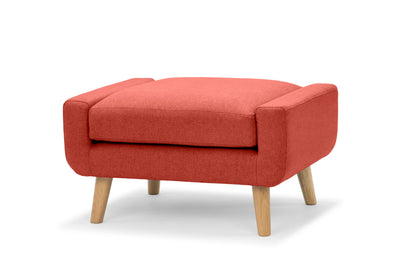 Olav large footstool in orange by Calvers & Suvdal