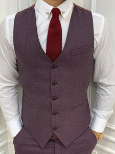 Verno Slim Fit Claret Red Suit