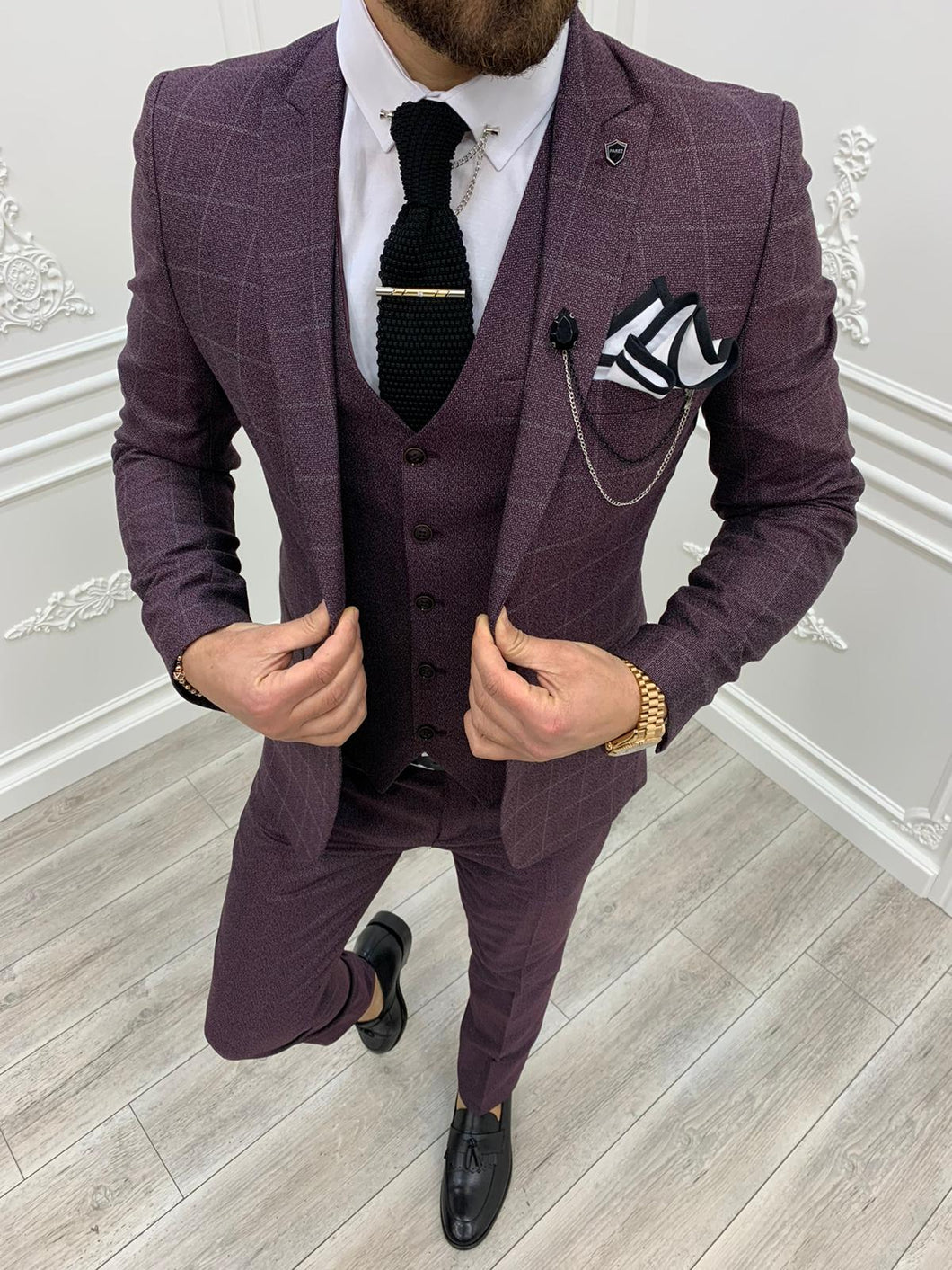 Verno Slim Fit Plaid Claret Red Suit