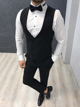 Load image into Gallery viewer, Genova Slim Fit Black with Dovetail Collar Tuxedo
