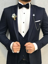 Load image into Gallery viewer, Noah Navy Tuxedo with Velvet Vest  (Wedding Edition)