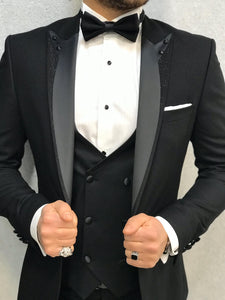 Genova Slim Fit Black with Stony Collar Tuxedo