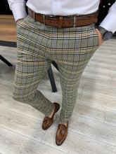 Load image into Gallery viewer, Marc Plaid Green Slim Fit Pants