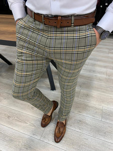 Marc Plaid Green Slim Fit Pants