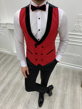 Load image into Gallery viewer, Brooks Slim Fit Groom Collection (Red Velvet Lapel Tuxedo)