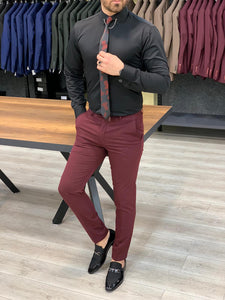 Lance Burgundy Slim Fit Canvas Pants