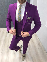 Load image into Gallery viewer, Verno Fuschia Slim Fit Suit
