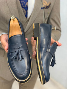 Noak Tasseled Eva Navy Loafer
