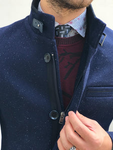 Herno Zippered Cashmere Navy Flakes Coat