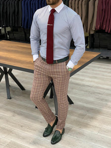 Marc Plaid Claret Red Slim Fit Pants
