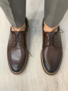 Noak Laced Eva Coffee Leather Shoes
