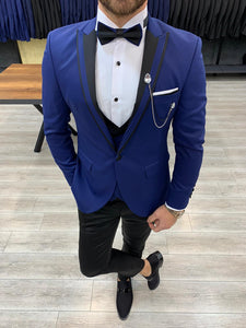 Harrison Sax Blue Pointed Collared Tuxedo