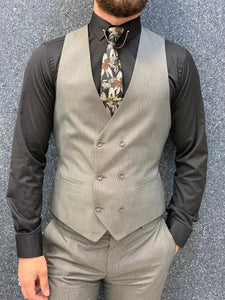 Noak Milk Coffee Vested Slim Suit