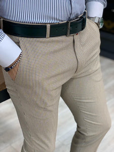 Marc Checkered Cream Slim Fit Pants