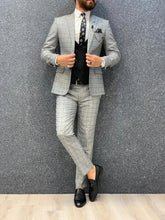 Load image into Gallery viewer, Noak Windowpan Plaid Grey Black Suit