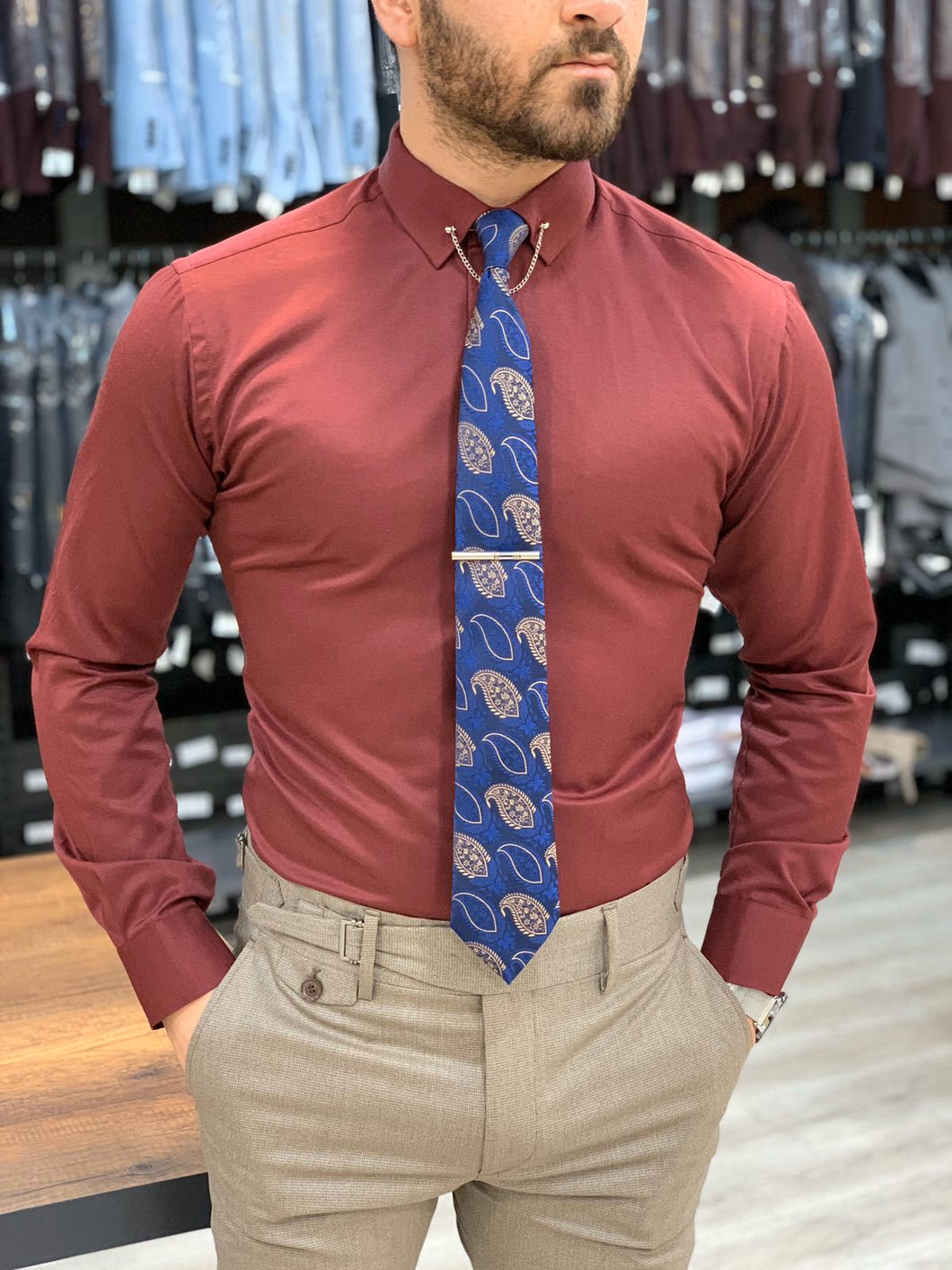Lance Red with Needle Collar and Cuffs Shirt