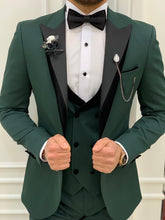 Load image into Gallery viewer, Vince Slim Fit Green Double Lapel Tuxedo