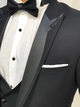 Charger l'image dans la galerie, Genova Slim Fit Black with Stony Collar Tuxedo