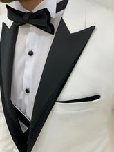 Load image into Gallery viewer, Brooks Slim Fit Groom Collection (White Silk Lapel Tuxedo)