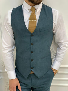 Verno Slim Fit Plaid Green Suit